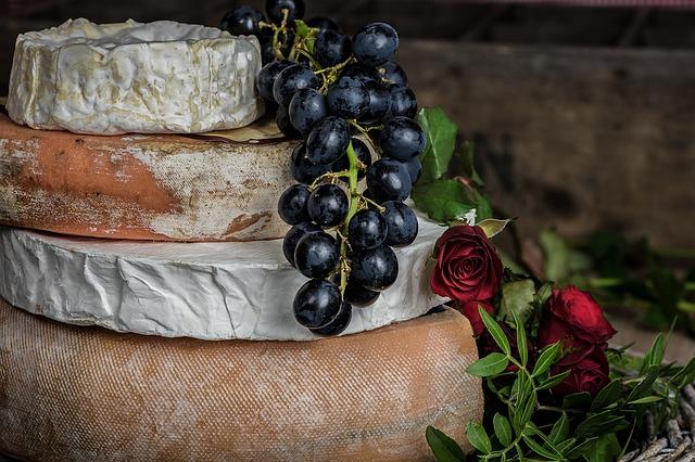 Hrozen vína položený na sýrech